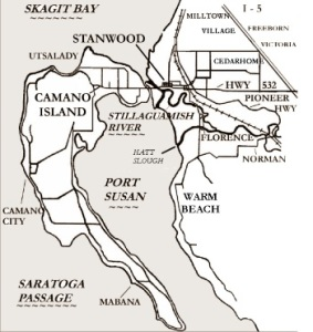 Stanwood and Camano Island Historical Places include the communities of Warm Beach, Cedarhome, Silvana, Florence, Victoria, Village, Milltown, Camano Island, Utsalady, Juniper Beach, Livingston Bay, Camano City, Mabana, Elger Bay in Snohomish and Island Counties