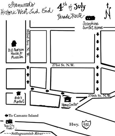 Fourth of July Parade Map Route, Stanwood Washington