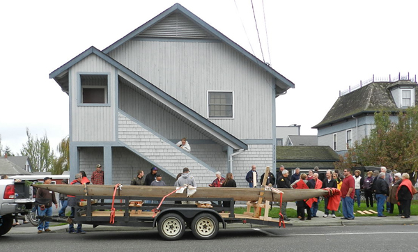Shovelnose Indian canoe on a special truck for returning the canoe upriver for the last time.