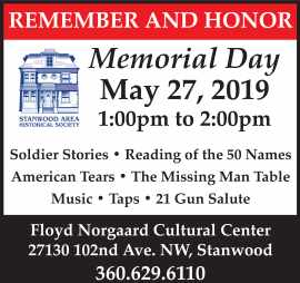 Memorial Day Program May 27, 2019 1 pm