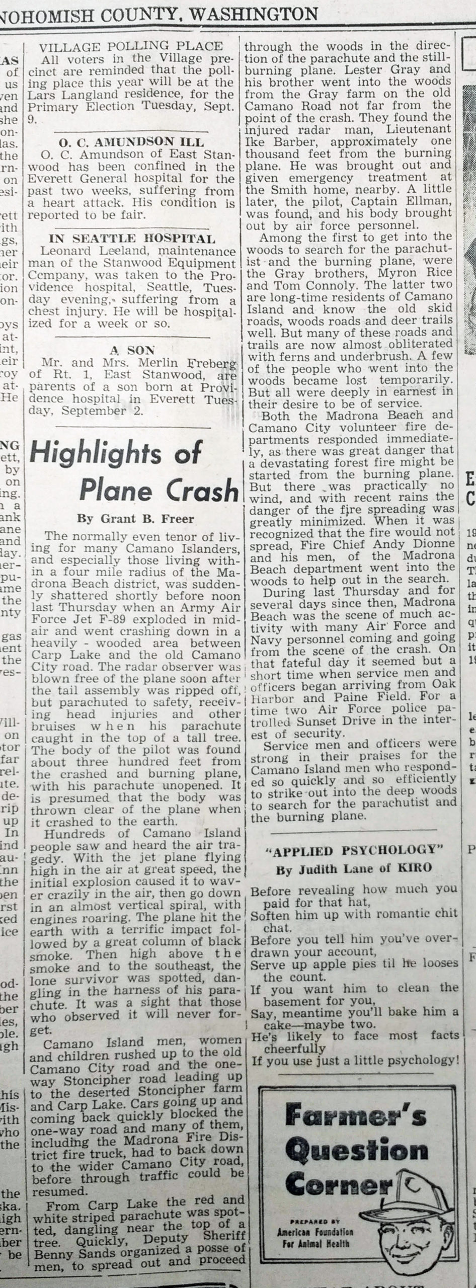 Plane Crash over Camano 1952