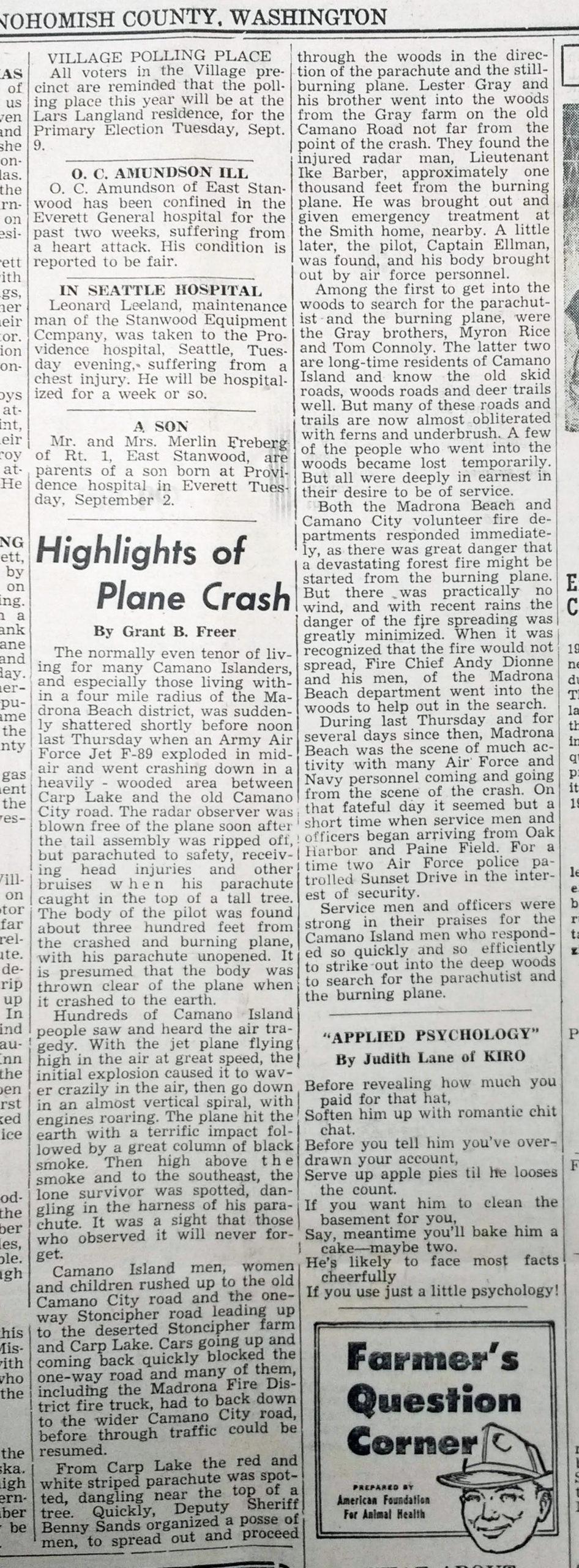 Plane Crash over Camano 1952